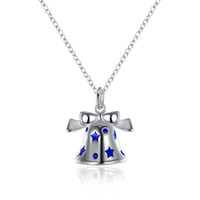 Wholesale Enamal Jewelry - Christmas Bell Bowknot Pendant Necklace Enamal Process Star Marked Silver Plated Chain 925 Jewelry High Quality Cute Christmas Gifts Jewelry