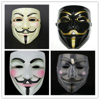 Wholesale Christmas Party Face Mask - Halloween Plastic Mask for Adult Fashion V- Vendetta Mask Decorative Props Full Face 4 Colors Ribbon Blush Cosplay Party Ball Costume