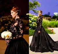 Discount gothic black lace dress - 2017 New Custom Made Black Vintage Gothic Style Prom Dresses Long Sleeve High Neck Lace Tulle Taffeta A-Line Evening Gowns with Sweep Train