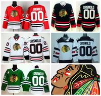 yeşil hokey mayo satışı toptan satış-Sıcak Satış 00 Clark Griswold Chicago Blackhawks Hokey Formalar Buz Kış Klasik Stadyum Serisi Kafatası Kırmızı Siyah Buz Beyaz Yeşil