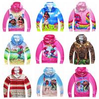 Wholesale Branded Children Clothes - 18 Designs Sweatshirts Boys Clothing Moana Jacket Kids Hoodies Girls Trolls Children Cartoon Autumn Clothing Zipper Outwear CCA6896 50pcs