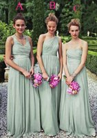 Wholesale One Dress Different Style Bridesmaid - Mother of the Bride for Wedding 2016 Different Styles Chiffon Long Bridesmaid Dresses Sweetheart V-neck One Shoulder Wedding Party Gowns