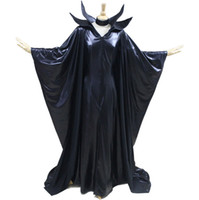 Wholesale maleficent dress online - 2016 Halloween Black Adult Women Costume Maleficent Sexy Angelina Witch Cosplay Dress Costume