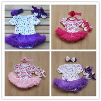 Wholesale Three Piece Set Romper - 2016 Infant baby clothes sets toddlers Christmas romper sets rompers + shoes+headbands three piece sets baby christmas outfits