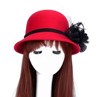 Wholesale wool felt fascinator - Vintage Women Ladies fashion Fascinator Bowknot Floppy Stingy Brim Hat Warm Wool Blend Felt Trilby Bowler Hat Top hat one size for almost