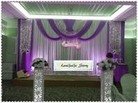 vereisten lavendel großhandel-Schöne weiße Hochzeitshintergründe mit Lavendel drapiert silberne Paillettengewebeschiere / silk Hochzeitsvorhänge des Eises / 10ft * 20ft / können besonders angefertigt