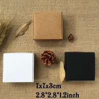 Wholesale Paper Craft Party - 50PCS 7X7x3CM Black Brown Carton Kraft Paper Box Wedding Favors and White Gift Box Candy Box for Chocolate Party Favor for Guest