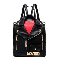 Wholesale Black Punk Purses - Women PU Leather Jacket Bags Clothing Shoulder Bag Backpack Style Fashion Clutch Purse Bags Motorcycle Punk Bags Free Shipping