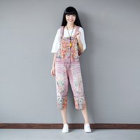Wholesale Denim Overalls For Ladies - Wholesale- Women Loose Printed Denim Jumpsuits Ladies Denim Pants Holes Calf Length Trousers for Female Overalls Ropmers