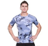 Wholesale camouflage uniforms online - Men s tight fitting short sleeved sports fitness running training camouflage uniforms dry stretch compression body sculpting T shirt cl