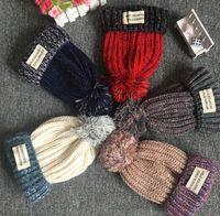 ingrosso muffa di crochet del bambino-Ragazzi Ragazze Bambini Big Ball Knit Beanie Hat Ski Crochet Cap Inverno Soft Warm Ear Muff colorful 3Y-12Y Bambini cappelli di Natale