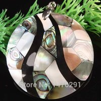 Gros-50x50mm Abalone Nacre Coin Perle Pendant 1PCS