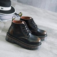 Wholesale Brown Girls Motorcycle Boots - Plus Size 40 Cow Muscle Thick Bottom Genuine Leather Boots Women British Style Lace Up Shoes For Girls Black Motorcycle Ankle Boots