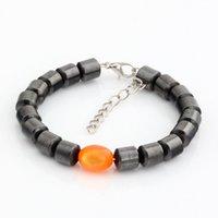 opalas soltas venda por atacado-Quente! 20 pcs modas cilíndrico preto magnética hematita orange elipse imitação opala solta talão frisado bracele
