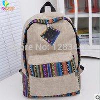 Wholesale Trolley School Bag Plain - uggage Bags Backpacks 2015hot!National wind Fashion Vintage Casual Canvas Backpack school bag men's Travel bag trolley Bag 3 Colors w...