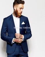 Wholesale Tailored Suits For Men Purple - Custom Made Navy Blue Men Suit, Tailor Made Suit, Bespoke Men Wedding Suit, Slim Fit Groom Tuxedos For Men(Jacket+Pants+Vest))