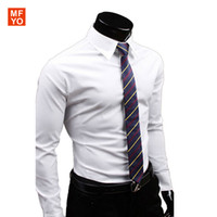 Wholesale-UYUK Marken-Männer langärmliges Kleid Shirts Leger Gesellschaftliche Regular Fit Klassisches Business Casual Work Shirt Männer Chemise homme 3XL