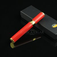 tube en acier inoxydable à cigarettes achat en gros de-Gros-New Crafts en acier inoxydable Cigarettes Case Holder Red Cigar Humidor Tobacco Storage Tube cadeau