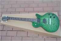 Wholesale Guitar Wavy - best china guitar Standard green wavy top electric guitar OEM Musical Instruments