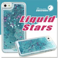Para Samsung S8 Case Sparkly Bling Stars e Glitter Fluindo Água Líquida Aqua Movable Dynamic Hard Cover Case para iphone 7 7 Plus S7 S6