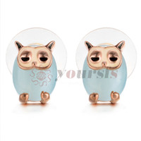Yoursfs Owl Jewelry Earrings Cute Personality Owl Pink Crystal Stud Pendientes para Mujeres Idea de Regalo
