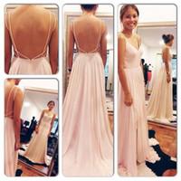 Wholesale sexy open back maxi dresses - 2016 Sexy Backless Maxi Dress Spaghetti Straps V Neck Pink Open Back Prom Dress Chiffon Long Evening Dresses
