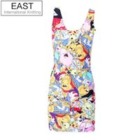 Wholesale Tank Dresses Punk - Wholesale-EAST KNITTING X-218 2016 Women Summer Dress Adventure Time Print Women Casual Dresses Punk Plus Size Tank Dress