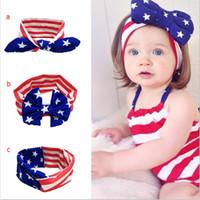 Wholesale american flag children - Baby star stripe national flag bowknot Headbands 3 Design Girls Lovely Cute American flag Hair Band Headwrap Children Elastic Accessories