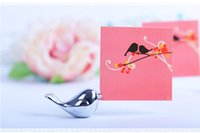 Wholesale Love Birds Table Card - Love birds place card holder New design bird silver cute small name table card holder Wedding favor