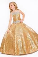 blumenmädchen kleidet blauen schein großhandel-Sparkle Blue Gold Pailletten Lace Straps Blumenmädchen Kleid Mädchen Festzug Kleider Prinzessin Urlaub Rock Benutzerdefinierte Größe 2-14 H907045