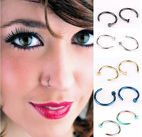 Wholesale Titanium Earrings Hoops Black - Trendy Nose Rings Body Piercing Jewelry Fashion Jewelry Stainless Steel Nose Open Hoop Ring Earring Studs Fake Nose Rings Non Piercing Rings