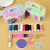 Wholesale Sewing Box Kits - Hot Sale 12Pcs Threader Needle Thread Tape Measure Scissor Thimble Storage Box Sewing Kit Sewing Set Accessories