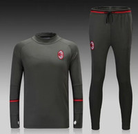Wholesale Soccer Tracksuit Free Shipping - Free shipping survetement football 2016 AC Milan training 1617 AC Milan soccer tracksuits with AC Milan sweatshirts top pants suit