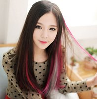 Wholesale Girls Hair Extension Clips - Womens Girls Straight Colorful Popular Colored Hair Products Clip On In Hair Extensions 20inch Free Shipping