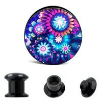 Wholesale Double Flared Acrylic Tunnels - Black Acrlic vintage flower double flare ear plug gauges tunnel body piercing jewelry 4-16mm 64pcs Earring stretcher