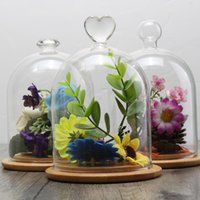 Wholesale Artificial Flowers Wooden - Transparent Bell Vase Display Cloche Terrarium Dome Flower Immortal Preservation Wooden Base Home Garden Diy Decoration Crafts