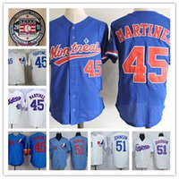 Wholesale Baseball Montreal - Mens Randy Johnson Montreal Expos 1994 Throwback Vintage Jersey White blue 45 PEDRO MARTINEZ Expos 2015 HOT patch baseball Jersey S-3XL