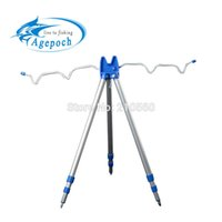 Wholesale Telescopic Fishing Rods Stainless Steel - Wholesale-Wholesale High Quality Aluminum Alloy Portable Telescopic Fishing Rods Tripod Stand Rest Holder For Sea Beach Cast Surfcasting