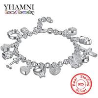 bracelets uniques en argent sterling achat en gros de-YHAMNI Marque Unique Design 925 Bracelet En Argent Bijoux De Mode Charme Bracelet 13 Pendentifs Bracelets Bracelets Pour Femmes H144