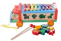 Wholesale Wooden Xylophone Baby - Baby Toys 3 In 1 Xylophone Trailer Blocks Set Wooden Toys Montessori Infant Toy Educational Music Toy Animal Blocks Child Gift