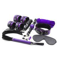 Wholesale Handcuffs Gag Bondage - 2017 Real Hot Sale Unisex Adult Toy 8 Pcs Bound Tool Set Into Bdsm Play Games Handcuffs Whiplash Eye Ball Gag Purple Slavery