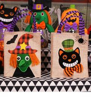 Wholesale Drawstring Gift Bag Paper - 2017 Halloween Gift Bags DIY Paper Halloween Decorations Candy Bag Drawstring Kids Trick or Treat Bag Children Pumpkin Bags Gift Bags