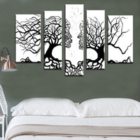 Wholesale Painted Mirror Hand - 100%Hand-painted wall art Home decoration White and black Tree Modern abstract 5 piece oil painting on the canvas for living room