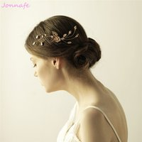 Wholesale bridal vine online - beijia Gold Flower Leaf Hair Vine Bridal Pearl Hair Comb Wedding Accessories Women Headpiece