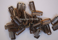 Wholesale Teeth Hair Extension Clips - Wholesale Brown color hair clips 20pieces lot Brown 9-teeth Large Hair Clips Wigs Clip hair extension clips hair clips