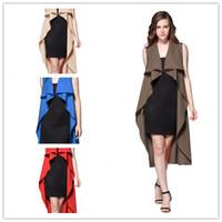 Wholesale Graceful Women Coats - Fashion Women Sleeveless Graceful Asymmetrical Hem Long Thin Windbreaker Jacket Coat