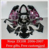 Top carenature Kit Kawasaki Ninja ZX-10R 2006 2007 ZX10R 06 07 ZX 10R 06-07 Pink Pattern lucido motociclo nero ABS carenatura Set Corpo