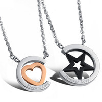 Wholesale Gao Star - 2016 South Korea's lover stainless steel necklace love star pendant pure steel hot 2016 IP plating Gao Guiyin men and women necklace
