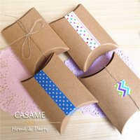Wholesale Pie Boxes - Favor candy Box bag New craft paper Pillow Shape Wedding Favor Gift Boxes pie Party Candy Box bags eco friendly kraft promotion 160404#