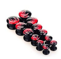 Wholesale 14mm Acrylic Ear Tunnels - New Arrival 5-14mm Flame Logo Steel Ear Plugs Fashion Stainless Steel Puncture Ear Piercing Plug for women party tunnels jewelry
